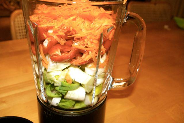 Gemüse im Mixer