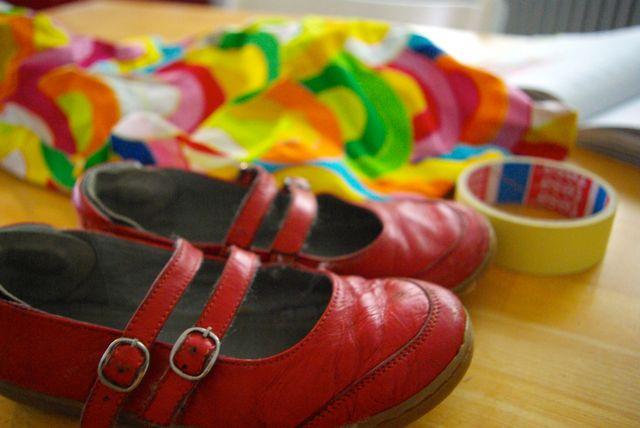 alte rote Schuhe