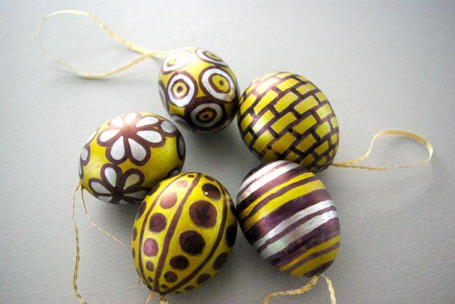 Ostereier schwarzgoldsilber